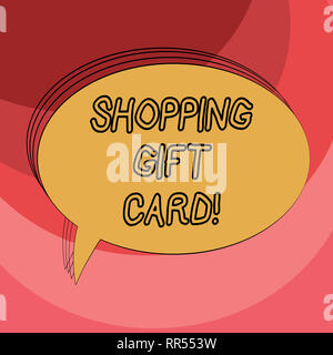 Conceptual hand writing showing Shopping Gift Card. Business photo showcasing piece of paper that you buy at shop and give to someone Oval Outlined So - Stock Photo