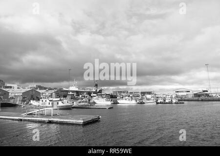 Reykjavik, Iceland - October 13, 2017: sea port. Travel destination. Travel by ship. A great ship asks deep waters. Wait by the sea for the weather. - Stock Photo