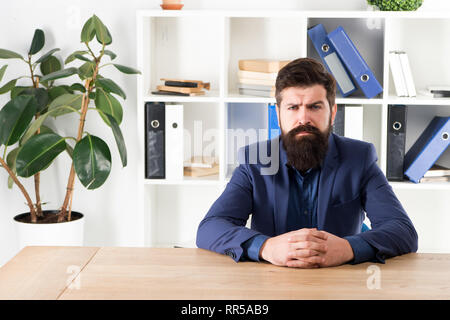 Ready to hear your opinion. Report and complaint concept. Man bearded hipster boss looking at you with attention. Boss sit in office. Boss receive complaints. Meeting with boss. I am listening. - Stock Photo