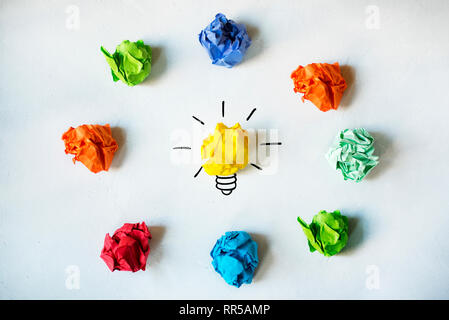 New Idea Concept. Colorful Crumpled Paper Balls - Stock Photo
