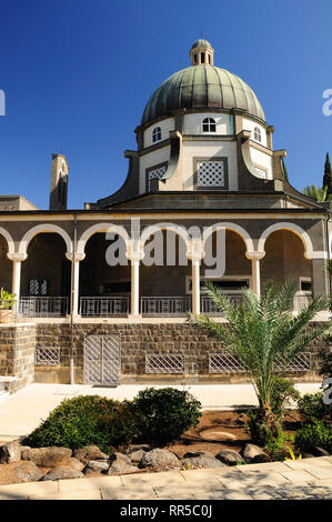 Christian church of beatitudes on the mount of beatitudes. Northern Israel. - Stock Photo