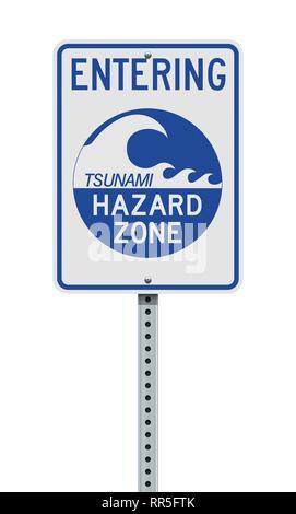 Vector illustration of the Entering Tsunami Hazard Zone sign - Stock Photo