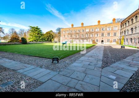 View of Jesus College, Cambridge, England - Stock Photo