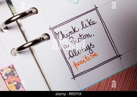 think positive - agenda planner - Stock Photo