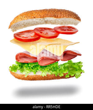 sandwich with flying ingredients - Stock Photo