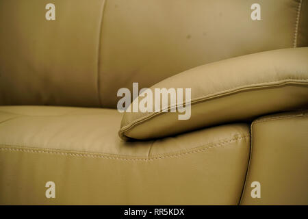 White yellow leather fabric sofa, close up detail texture - Stock Photo