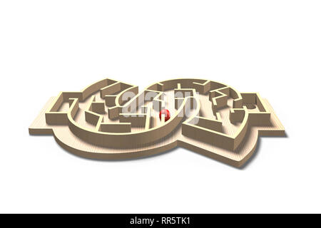 Money shape maze ball game, isolated on white, 3D rendering - Stock Photo