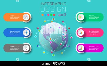 Six labels with business icon and world map at center infographics. - Stock Photo