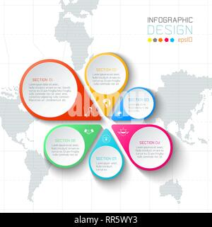 Business labels infographic on world map background. - Stock Photo