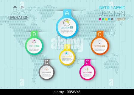 Business water drop labels shape infographic on world map. - Stock Photo