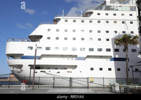 Cruise & Maritime Voyages' MV Columbus cruise ship moored at the Overseas Passenger Terminal in Sydney, Australia. - Stock Photo