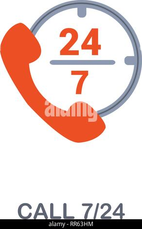 Call 7 24 icon. Premium two colors style design from contact us icons collection. Pixel perfect Call 7 24 icon for web design, apps, software, print - Stock Photo