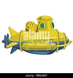 Yellow submarine isolated on white background. Vector cartoon close-up illustration. - Stock Photo