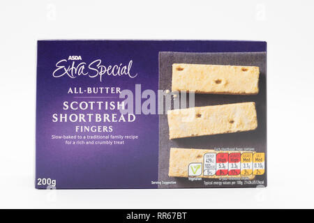 Largs, Scotland, UK - February 22, 2019: Asda branded all butter shortbread fingers in recyclable packaging. - Stock Photo