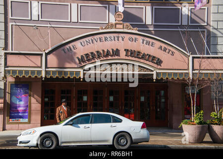 Philadelphia, Pennsylvania - February 5, 2019: The front entrance of the famous Merriam Theater located on Broad Street in Philadelphia, Pennsylvania  - Stock Photo