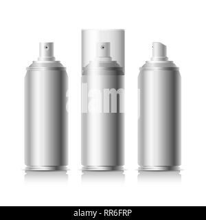 Hairspray can. Metal aerosol bottle vector illustration, metallic spray can, air tube deodorant mockup isolated on white background - Stock Photo