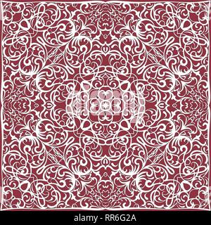 Square white pattern on a red background. Decorative ornament to the handkerchief. Vector illustration. - Stock Photo