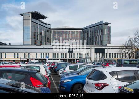 Visitors car park at Queen Elizabeth University Hospital in Glasgow, Scotland, UK - Stock Photo