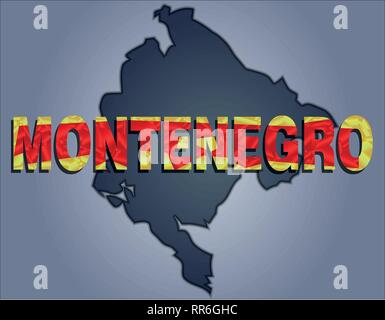 The contours of territory of Montenegro in grey colours and word Montenegro in colors of the oficial flag, red and light brown - Stock Photo