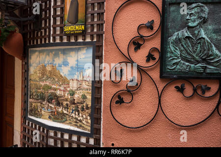 Tile artwork on a street in Sintra, Portugal, is a major tourist destination famed for its picturesqueness and numerous historic palaces and castles. - Stock Photo