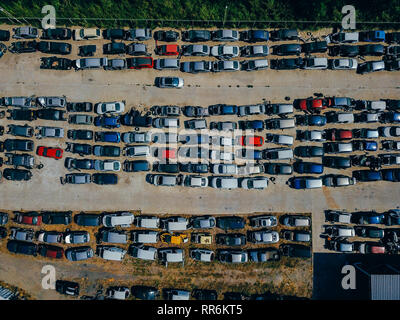Aerial view of the big car dump - Stock Photo