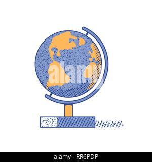 World globe flat hand drawn vector color icon - Stock Photo
