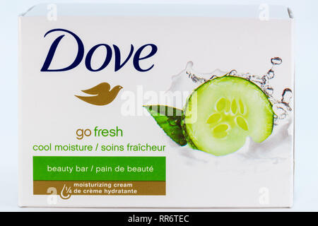 ST. PAUL, MN/USA - FEBRUARY 24, 2019: Dove bar soap in grouping of three. Dove is a personal care brand owned by Unilever. - Stock Photo