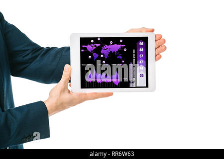 cropped view of businessman showing digital tablet with infographic app, isolated on white - Stock Photo