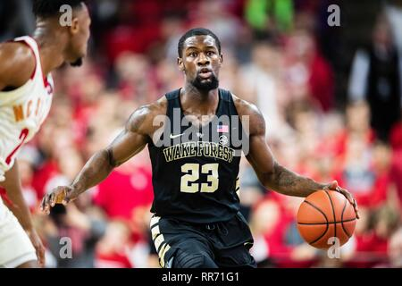 Raliegh, North Carolina, USA. 24th Feb, 2019. Wake Forest Demon Deacons guard Chaundee Brown (23) during the NCAA College Basketball game between the Wake Forest Demons Deacons and the North Carolina State Wolfpack at PNC Arena on Sunday February 24, 2019 in Raleigh, NC. Jacob Kupferman/CSM Credit: Cal Sport Media/Alamy Live News - Stock Photo