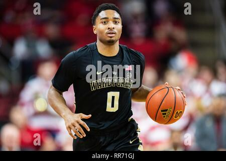 Raliegh, North Carolina, USA. 24th Feb, 2019. Wake Forest Demon Deacons guard Brandon Childress (0) during the NCAA College Basketball game between the Wake Forest Demons Deacons and the North Carolina State Wolfpack at PNC Arena on Sunday February 24, 2019 in Raleigh, NC. Jacob Kupferman/CSM Credit: Cal Sport Media/Alamy Live News - Stock Photo