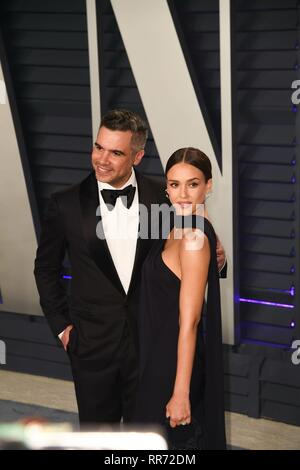 Los Angeles, USA. 24th Feb, 2019. LOS ANGELES, CA - FEBRUARY 24: Cash Warren and Jessica Alba at the Vanity Fair Oscar Party on February 24, 2019 in Los Angeles, California. Photo: imageSPACE Credit: Imagespace/Alamy Live News - Stock Photo