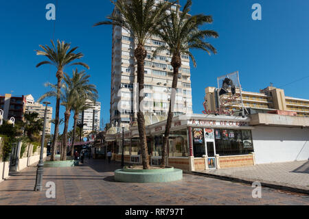 Benidorm, Costa Blanca, Spain, 25th February 2019. Two staff members at the Beachcomber pub in Benidorm New Town on the British square. Two British tourists have been arrested in relation to the alleged attack. Seen here is Sinatras, aA Touch Of Class Bar which is not connected to the reported incident. Credit: Mick Flynn/Alamy Live News - Stock Photo