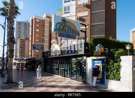 Benidorm, Costa Blanca, Spain, 25th February 2019. Two staff members at the Beachcomber pub in Benidorm New Town on the British square. Two British tourists have been arrested in relation to the alleged attack. Seen here is the Loch Ness Fun Pub which is not connected to the reported incident.  Credit: Mick Flynn/Alamy Live News - Stock Photo