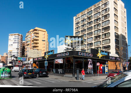 Benidorm, Costa Blanca, Spain, 25th February 2019. Two staff members at the Beachcomber pub in Benidorm New Town on the British square. Two British tourists have been arrested in relation to the alleged attack. Seen here is the Stardust Disco Pub which is not connected to the reported incident.  Credit: Mick Flynn/Alamy Live News - Stock Photo