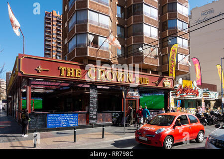 Benidorm, Costa Blanca, Spain, 25th February 2019. Two staff members at the Beachcomber pub in Benidorm New Town on the British square. Two British tourists have been arrested in relation to the alleged attack. Seen here is the Crown Pub which is not connected to the reported incident.  Credit: Mick Flynn/Alamy Live News - Stock Photo