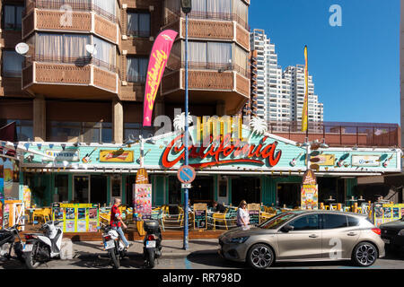 Benidorm, Costa Blanca, Spain, 25th February 2019. Two staff members at the Beachcomber pub in Benidorm New Town on the British square. Two British tourists have been arrested in relation to the alleged attack. Seen here is the Hotel California which is not connected to the reported incident. Credit: Mick Flynn/Alamy Live News - Stock Photo