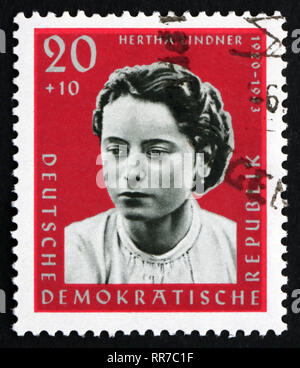 GDR - CIRCA 1961: a stamp printed in GDR shows Hertha Lindner, Resistance Fighter, circa 1961 - Stock Photo