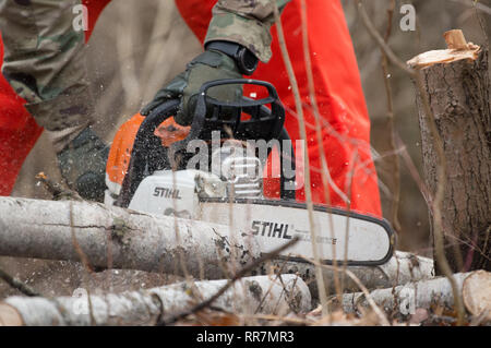 A Soldier cuts into a log with a chainsaw during training at Youngstown Local Training Area, Feb. 24, 2019. The training team was composed of New York Army National Guard and New York Guard Soldiers. They trained on how to use the equipment properly and safely. These Soldiers are just a few of more than 250 Soldiers and Airmen that are deployed to Western New York for debris clearing missions in support of Operation February Winter Storm. (U.S. Air National Guard photo by Master Sgt. Brandy Fowler) - Stock Photo