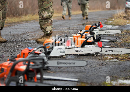 A collection of chainsaws line the road to aid Soldiers in training at Youngstown Local Training Area, Feb. 24, 2019. The training team was composed of New York Army National Guard and New York Guard Soldiers. They trained on how to use the equipment properly and safely. These Soldiers are just a few of more than 250 Soldiers and Airmen that are deployed to Western New York for debris clearing missions in support of Operation February Winter Storm. (U.S. Air National Guard photo by Master Sgt. Brandy Fowler) - Stock Photo