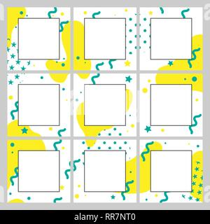 Vector endless editable template for social networks. Design square backgrounds for social media. - Stock Photo