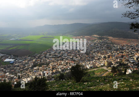 A view of the village of Daburiyya in the lower Galilee in Israel. - Stock Photo