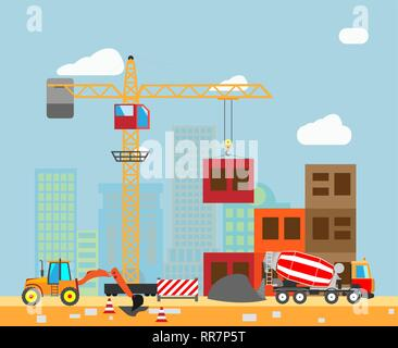 Building work process with houses and construction machines in the town. Vector illustration. - Stock Photo