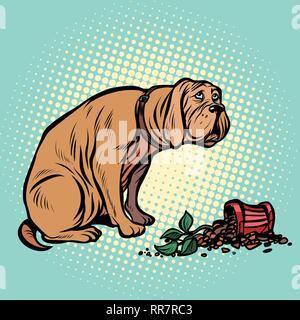 Bad dog broke a potted houseplant. Pop art retro vector illustration vintage kitsch - Stock Photo