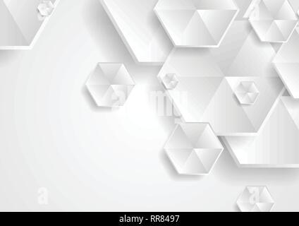 Abstract grey hexagons technology background. Vector design - Stock Photo