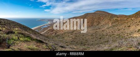 View of Port Hueneme Naval Base, from Chumash and Mugu Peak trail, Point Mugu State Park, Ventura County, California, USA - Stock Photo