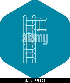 Swedish ladder icon, outline style - Stock Photo