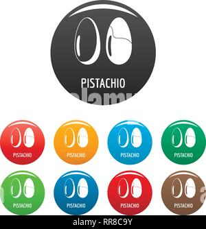 Pistachio icons set 9 color vector isolated on white for any design - Stock Photo