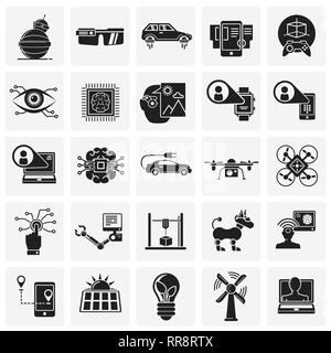 Future technologies icons set on squares background for graphic and web design, Modern simple vector sign. Internet concept. Trendy symbol for website - Stock Photo