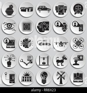 Future technologies icons set on plates background for graphic and web design, Modern simple vector sign. Internet concept. Trendy symbol for website design web button or mobile app. - Stock Photo