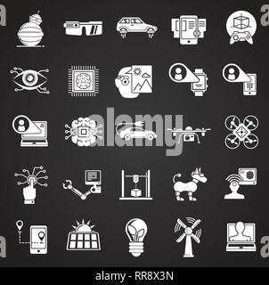 Future technologies icons set on black background for graphic and web design, Modern simple vector sign. Internet concept. Trendy symbol for website design web button or mobile app. - Stock Photo